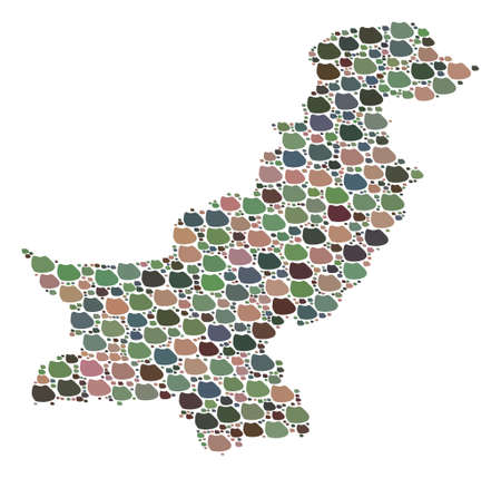 Mosaic map of Pakistan composed with colored flat stones. Vector multicolored geographic abstraction of map of Pakistan. Иллюстрация