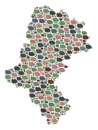 Mosaic map of Silesia Voivodeship created with colored flat pebbles. Vector varicolored geographic abstraction of map of Silesia Voivodeship.