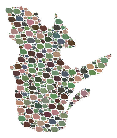Mosaic map of Quebec Province composed with colored flat concretions. Vector varicolored geographic abstraction of map of Quebec Province.