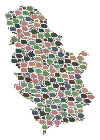 Mosaic map of Serbia formed with colored flat concretions. Vector versicolor geographic abstraction of map of Serbia.