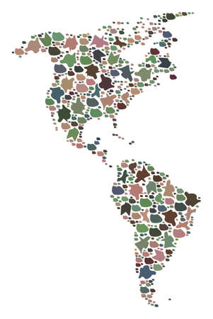 Mosaic map of South and North America created with colored flat pebbles. Vector multicolored geographic abstraction of map of South and North America. Vector Illustratie