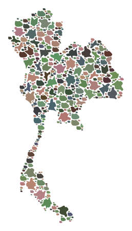 Mosaic map of Thailand designed with colored flat stones. Vector particolored geographic abstraction of map of Thailand.