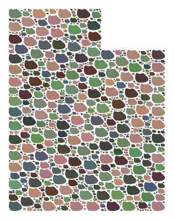 Mosaic map of Utah State composed with colored flat stones. Vector versicolor geographic abstraction of map of Utah State.  イラスト・ベクター素材