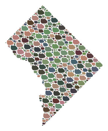 Mosaic map of Washington DC designed with colored flat pebbles. Vector multicolored geographic abstraction of map of Washington DC.