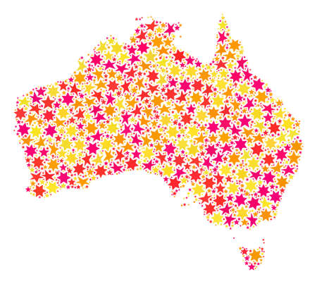 Collage map of Australia created with colored flat stars. Vector colored geographic abstraction of map of Australia with red, yellow, orange stars. Festive design for New Year illustrations. Stock Photo