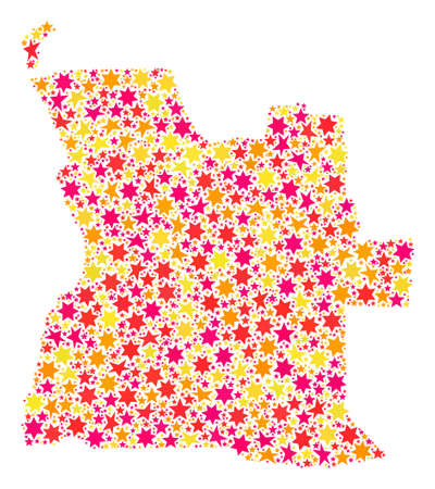 Collage map of Angola composed with colored flat stars. Vector colored geographic abstraction of map of Angola with red, yellow, orange stars. Festive design for holiday illustrations.