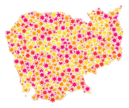 Mosaic map of Cambodia created with colored flat stars. Vector colored geographic abstraction of map of Cambodia with red, yellow, orange stars. Festive design for Christmas illustrations.