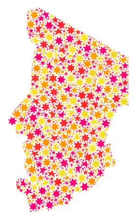 Collage map of Chad designed with colored flat stars. Vector colored geographic abstraction of map of Chad with red, yellow, orange stars. Festive design for Christmas illustrations.