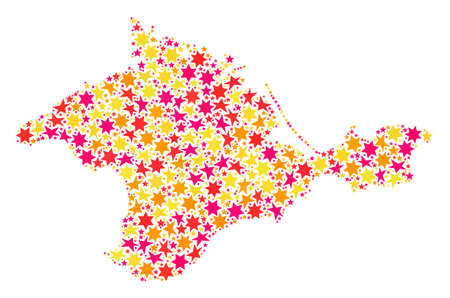 Mosaic map of Crimea designed with colored flat stars. Vector colored geographic abstraction of map of Crimea with red, yellow, orange stars. Festive design for Christmas illustrations.