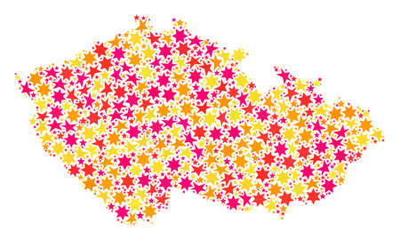 Mosaic map of Czech Republic created with colored flat stars. Vector colored geographic abstraction of map of Czech Republic with red, yellow, orange stars. Festive design for holiday illustrations.