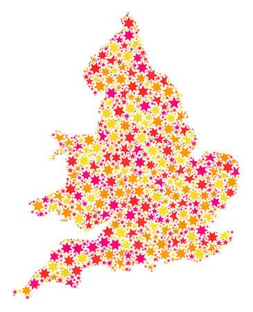 Mosaic map of England created with colored flat stars. Vector colored geographic abstraction of map of England with red, yellow, orange stars. Festive design for Xmas illustrations. Illustration