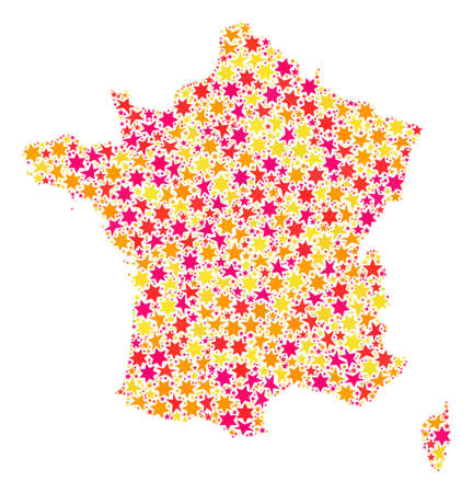 Collage map of France designed with colored flat stars. Vector colored geographic abstraction of map of France with red, yellow, orange stars. Festive design for Christmas illustrations.