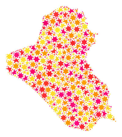 Mosaic map of Iraq designed with colored flat stars. Vector colored geographic abstraction of map of Iraq with red, yellow, orange stars. Festive design for holiday illustrations.