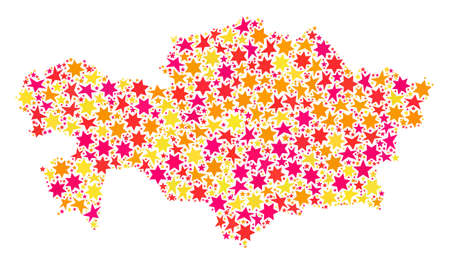 Collage map of Kazakhstan formed with colored flat stars. Vector colored geographic abstraction of map of Kazakhstan with red, yellow, orange stars. Festive design for Xmas illustrations.