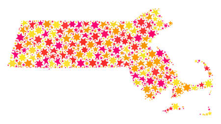 Mosaic map of Massachusetts State composed with colored flat stars. Vector colored geographic abstraction of map of Massachusetts State with red, yellow, orange stars.