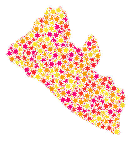 Mosaic map of Liberia composed with colored flat stars. Vector colored geographic abstraction of map of Liberia with red, yellow, orange stars. Festive design for holiday illustrations.