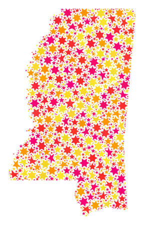 Mosaic map of Mississippi State composed with colored flat stars. Vector colored geographic abstraction of map of Mississippi State with red, yellow, orange stars. Banco de Imagens