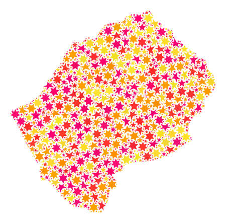Collage map of Lesotho composed with colored flat stars. Vector colored geographic abstraction of map of Lesotho with red, yellow, orange stars. Festive design for New Year illustrations.