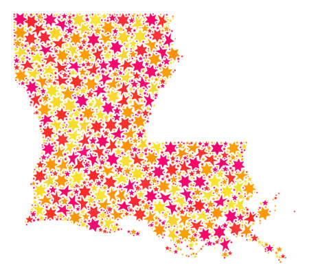 Collage map of Louisiana State formed with colored flat stars. Vector colored geographic abstraction of map of Louisiana State with red, yellow, orange stars. Festive design for holiday illustrations. Stock Photo