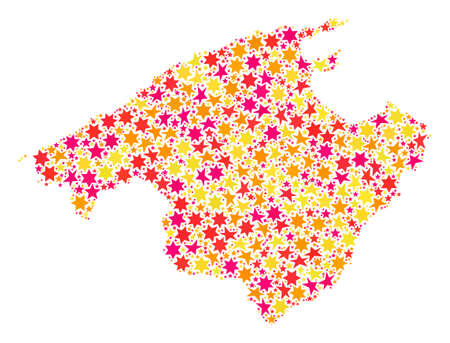 Mosaic map of Majorca composed with colored flat stars. Vector colored geographic abstraction of map of Majorca with red, yellow, orange stars. Festive design for holiday illustrations.