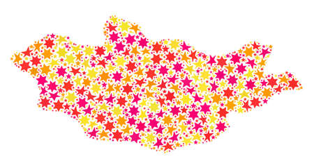 Collage map of Mongolia composed with colored flat stars. Vector colored geographic abstraction of map of Mongolia with red, yellow, orange stars. Festive design for New Year illustrations.