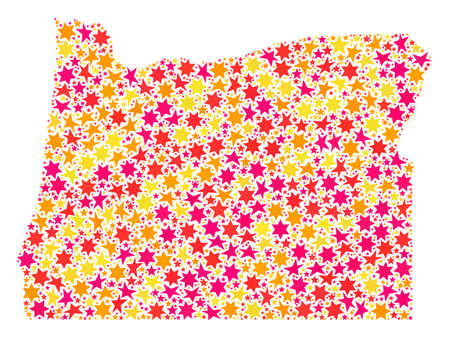 Collage map of Oregon State composed with colored flat stars. Vector colored geographic abstraction of map of Oregon State with red, yellow, orange stars. Festive design for Xmas illustrations.