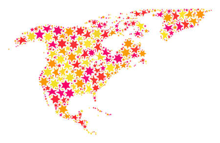 Mosaic map of North America and Greenland designed with colored flat stars. Vector colored geographic abstraction of map of North America and Greenland with red, yellow, orange stars.