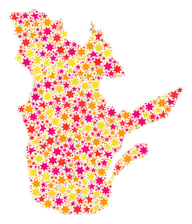 Collage map of Quebec Province designed with colored flat stars. Vector colored geographic abstraction of map of Quebec Province with red, yellow, orange stars. Festive design for Xmas illustrations.