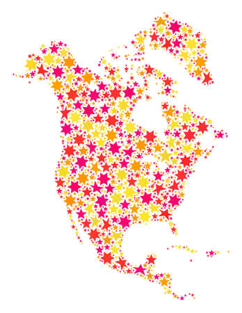 Mosaic map of North America designed with colored flat stars. Vector colored geographic abstraction of map of North America with red, yellow, orange stars. Festive design for New Year illustrations.