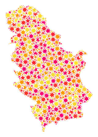 Mosaic map of Serbia created with colored flat stars. Vector colored geographic abstraction of map of Serbia with red, yellow, orange stars. Festive design for New Year illustrations.