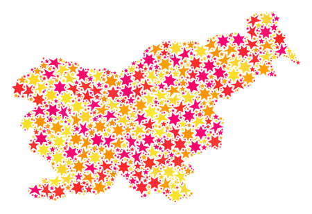 Collage map of Slovenia composed with colored flat stars. Vector colored geographic abstraction of map of Slovenia with red, yellow, orange stars. Festive design for Xmas illustrations. Stock Photo