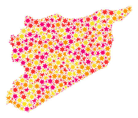 Mosaic map of Syria composed with colored flat stars. Vector colored geographic abstraction of map of Syria with red, yellow, orange stars. Festive design for Xmas illustrations. Stock Illustratie