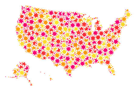 Collage map of USA territories formed with colored flat stars. Vector colored geographic abstraction of map of USA territories with red, yellow, orange stars. Иллюстрация