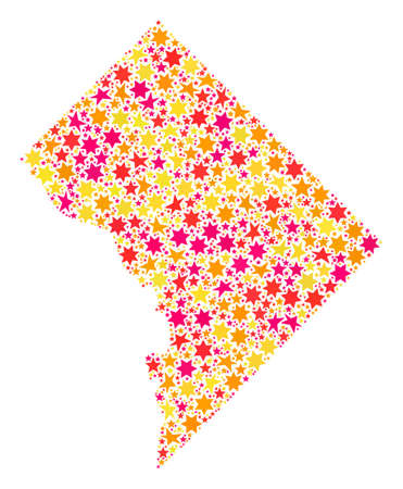 Mosaic map of Washington DC composed with colored flat stars. Vector colored geographic abstraction of map of Washington DC with red, yellow, orange stars. Festive design for New Year illustrations.