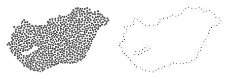 Dot and Contour map of Hungary composed with dots. Vector grey abstraction of map of Hungary. Connect the dots educational geographic drawing for map of Hungary.