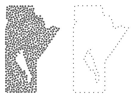 Dot and Contour map of Manitoba Province composed with dots. Vector gray abstraction of map of Manitoba Province. Connect the dots educational geographic drawing for map of Manitoba Province.