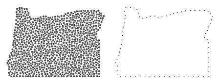Dotted and Frame map of Oregon State composed with dots. Vector grey abstraction of map of Oregon State. Connect the dots educational geographic drawing for map of Oregon State.