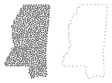 Dot and Contour map of Mississippi State formed with dots. Vector gray abstraction of map of Mississippi State. Connect the dots educational geographic drawing for map of Mississippi State.
