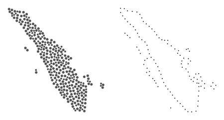 Dot and Contour map of Sumatra Island composed with dots. Vector grey abstraction of map of Sumatra Island. Connect the dots educational geographic drawing for map of Sumatra Island. Stock Photo