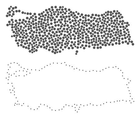 Dot and Contour map of Turkey created with dots. Vector grey abstraction of map of Turkey. Connect the dots educational geographic drawing for map of Turkey.  イラスト・ベクター素材