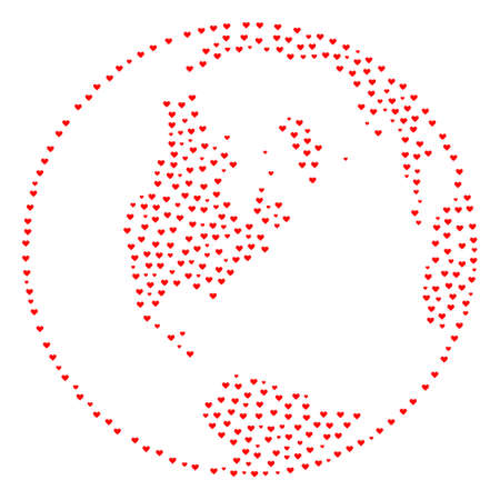 Collage global map of world formed with red love hearts. Vector lovely geographic abstraction of global map of world with red romantic symbols. Romantic design for wedding posters.