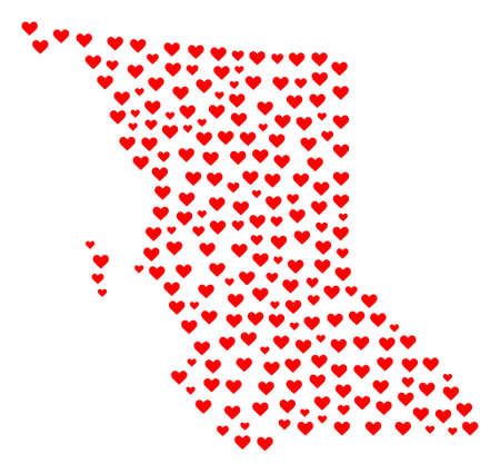 Mosaic map of British Columbia Province created with red love hearts. Vector lovely geographic abstraction of map of British Columbia Province with red romantic symbols. 일러스트