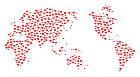 Mosaic map of Earth composed with red love hearts. Vector lovely geographic abstraction of map of Earth with red romantic symbols. Romantic design for wedding posters.