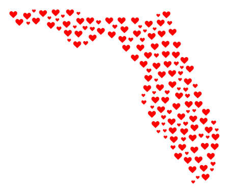 Collage map of Florida composed with red love hearts. Vector lovely geographic abstraction of map of Florida with red romantic symbols. Romantic design for relations posters. Illusztráció