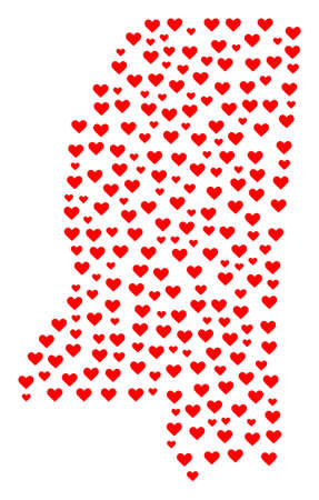 Collage map of Mississippi State created with red love hearts. Vector lovely geographic abstraction of map of Mississippi State with red romantic symbols. Romantic design for political projects. Banco de Imagens