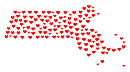 Mosaic map of Massachusetts State formed with red love hearts. Vector lovely geographic abstraction of map of Massachusetts State with red romantic symbols. Romantic design for wedding projects.