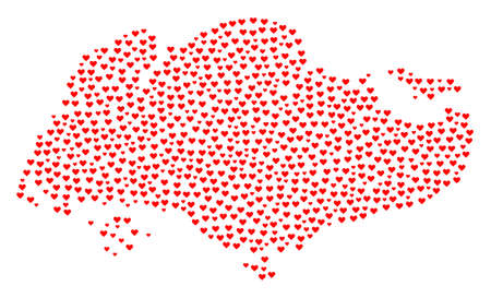 Mosaic map of Singapore created with red love hearts. Vector lovely geographic abstraction of map of Singapore with red romantic symbols. Romantic design for bonus projects.