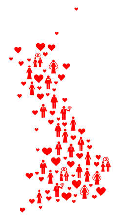 Mosaic map of Great Britain composed with red wedding men and women. Vector lovely geographic abstraction of map of Great Britain with red valentine symbols. Romantic flat design for wedding purposes.