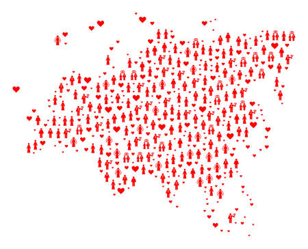 Collage map of Europe and Asia designed with red lovely men and women. Vector lovely geographic abstraction of map of Europe and Asia with red romantic symbols.