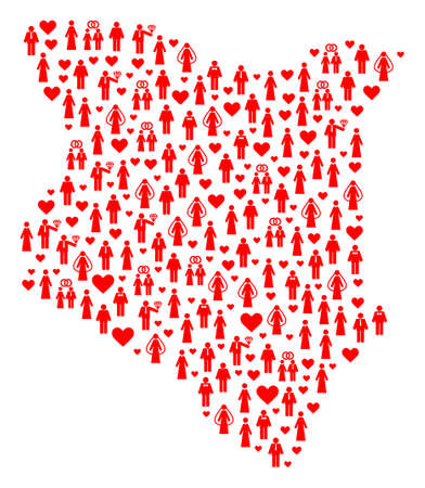 Collage map of Kenya composed with red married brides and grooms. Vector lovely geographic abstraction of map of Kenya with red romantic symbols. Romantic flat design for political illustrations.